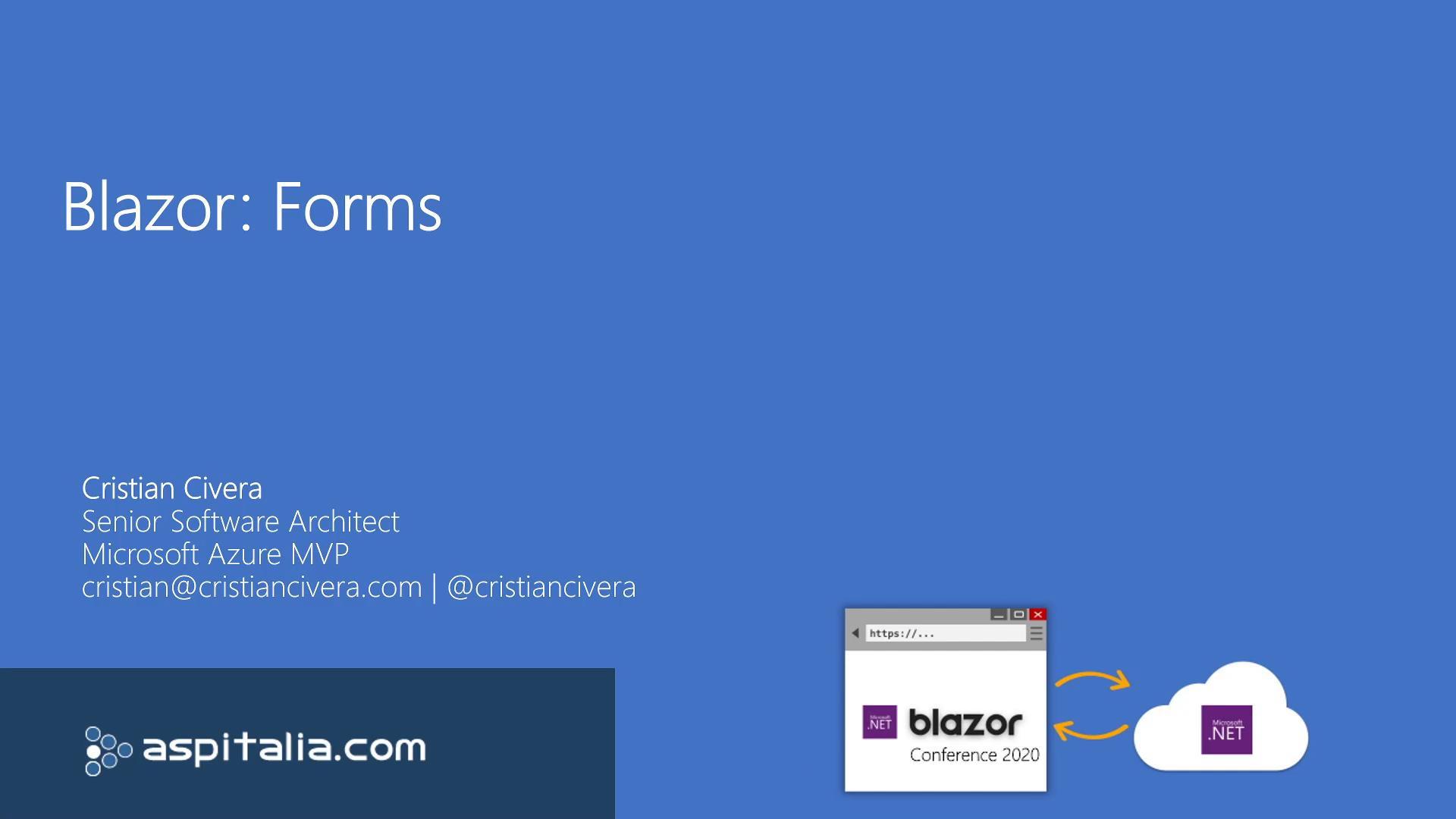#blazor: Forms https://aspit.co/b0k di @CristianCivera #vs