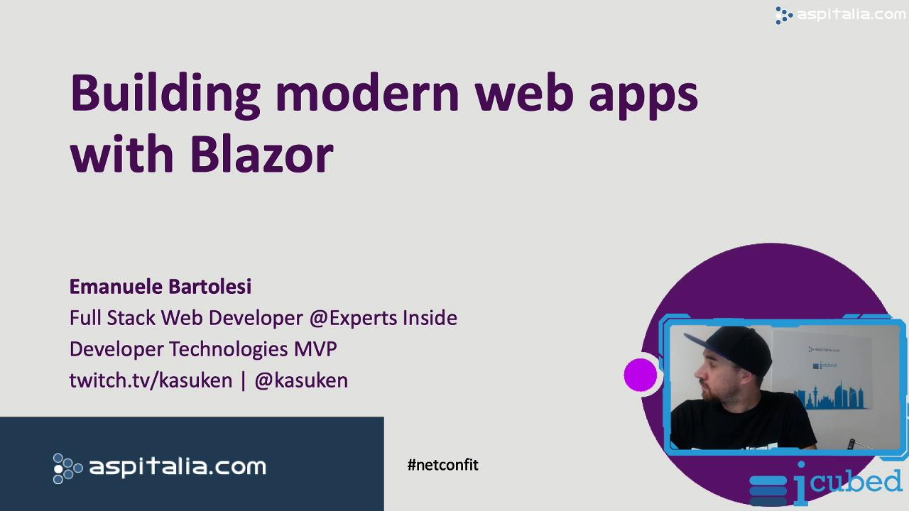 Building modern web apps with #blazor https://aspit.co/bxs di @kasuken #aspnetcore3